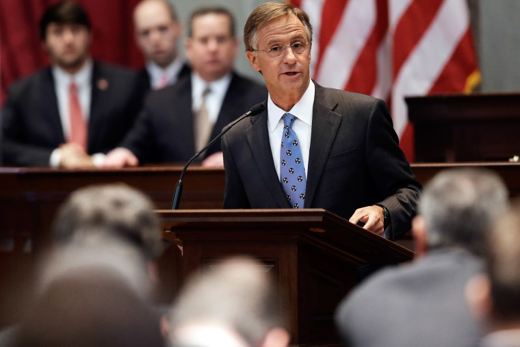 In this March 27, 2013, file photo, Gov. Bill Haslam speaks to a joint session of the Legislature in Nashville, Tenn.