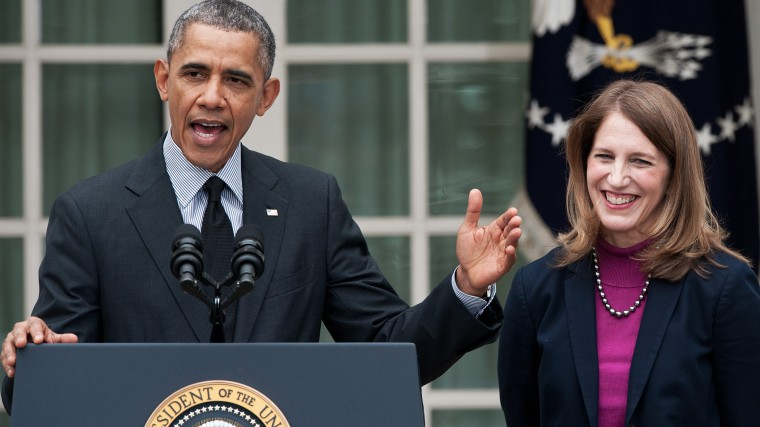 US President Barack Obama names Sylvia Mathews Burwell (R), his current budget director, to replace Heath and Human Services Secretary Kathleen Sebelius (L) in the Rose Garden at the White House in Washington on April 11, 2014.