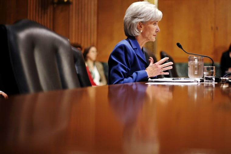 Health and Human Services Secretary Kathleen Sebelius testifies during a hearing, Nov. 6, 2013, on Capitol Hill in Washington, D.C.