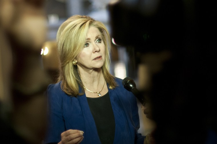 Rep. Marsha Blackburn (R-Tenn.) speaks to reporters at the Capitol in Washington, Oct. 5, 2013.