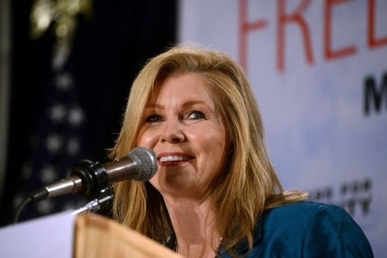 U.S. Representative Marsha Blackburn (R-TN) speaks at the Freedom Summit in Manchester, N.H., April 12, 2014.