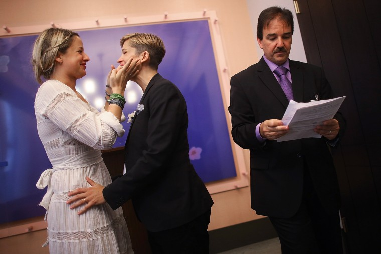 Gay Couples Marry At New York City Hall