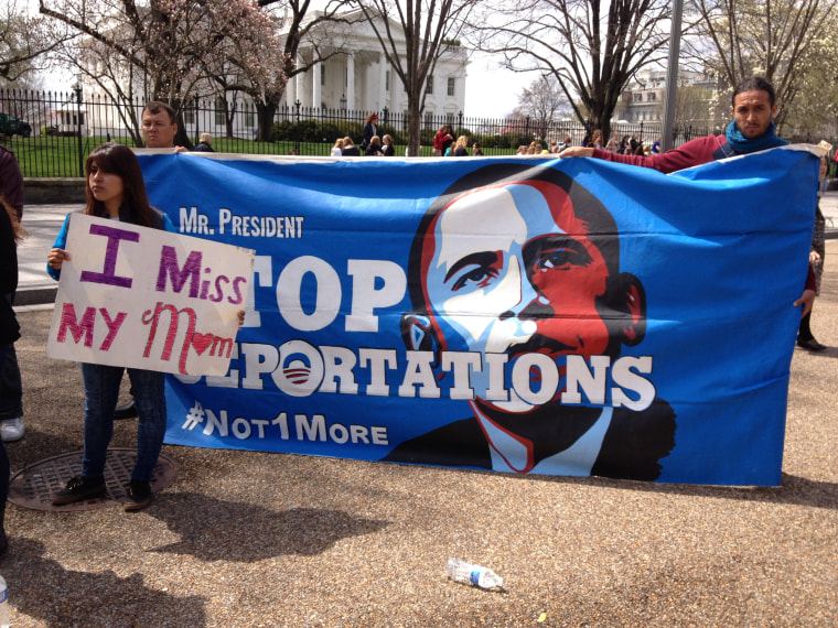 Cynthia Diaz, 18, from Arizona, is seen outside the White House on April 8 with a group of immigrant activists to protest deportations.