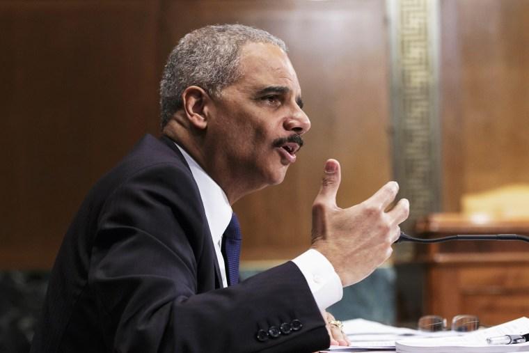 Attorney General Eric Holder testifies on Capitol Hill, April 3, 2014.