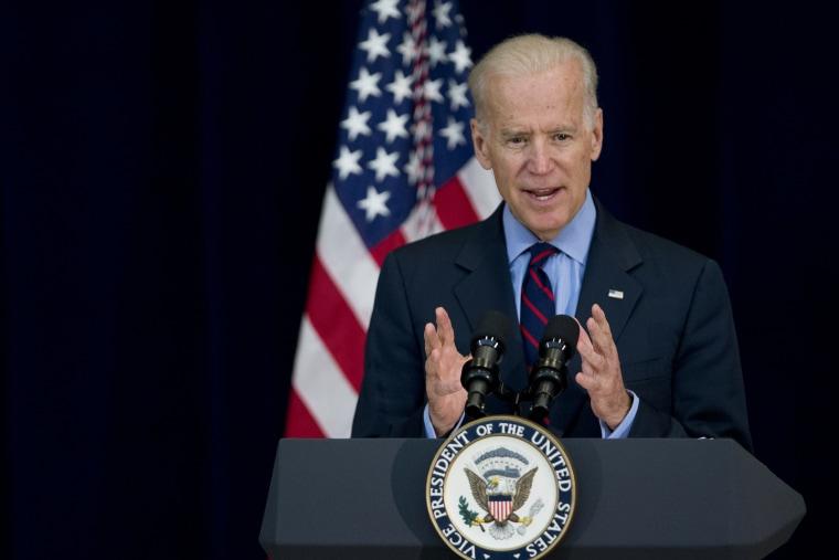 Vice President Joe Biden speaks at the State Department in Washington, Monday, April 14, 2014.