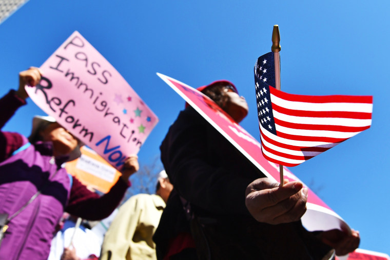 A coalition of New York area groups rally to call on Congress to move on immigration reform in New York, April 10, 2014.
