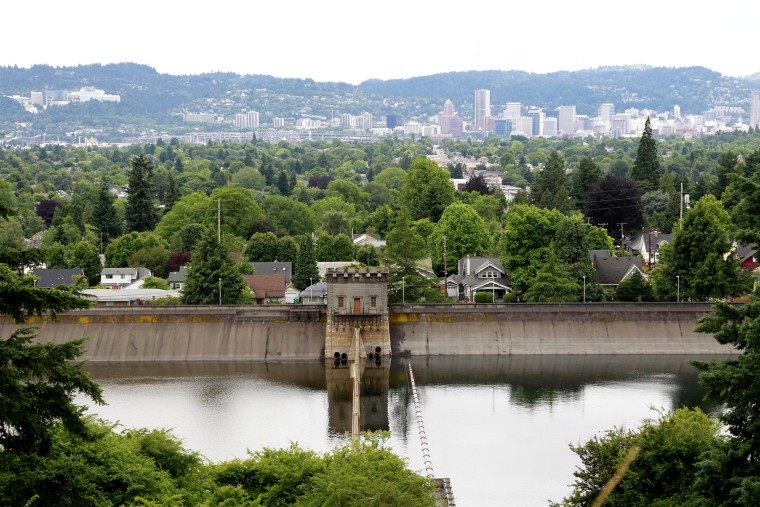 This photo taken June 29, 2011 shows Portland's reservoir No. 6 in Mount Tabor Park in Portland, Ore.