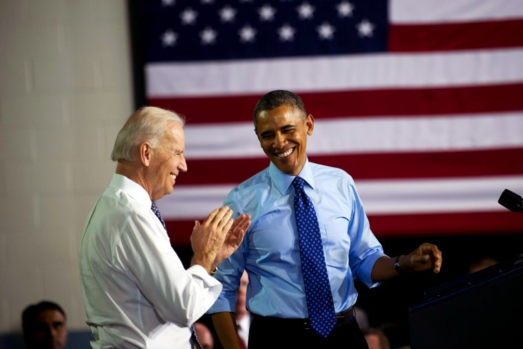 President Barack Obama and Vice President Joe Biden speak to guests at the Community College of Allegheny County on April 16, 2014.