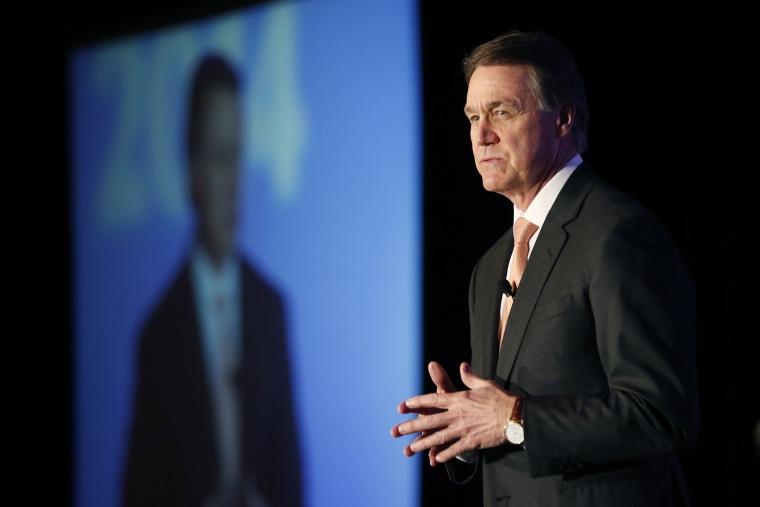 David Perdue speaks during a forum in Atlanta, Jan. 27, 2014.