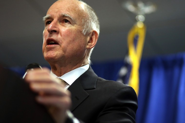 California Gov. Jerry Brown speaks during a news conference on Jan. 17, 2014 in San Francisco, Calif.