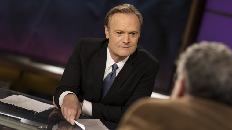Lawrence O'Donnell on set of The Last Word.