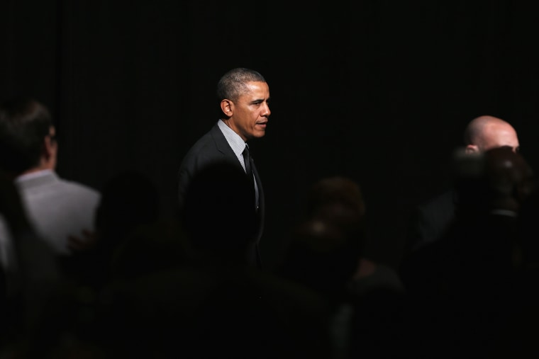 President Barack Obama walks to greet members of the National Action Network after speaking at their 16th annual convention, April 11, 2014, in New York, N.Y.