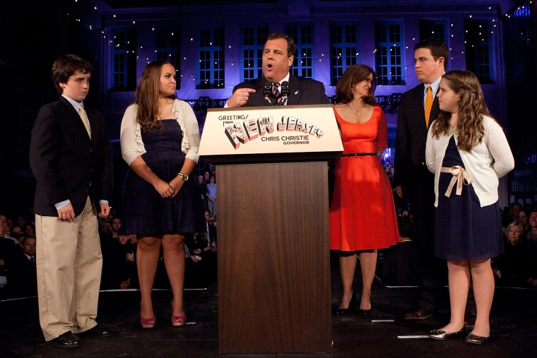 New Jersey Governor Chris Christie speaks next to his family at his election night event, Nov. 05, 2013.