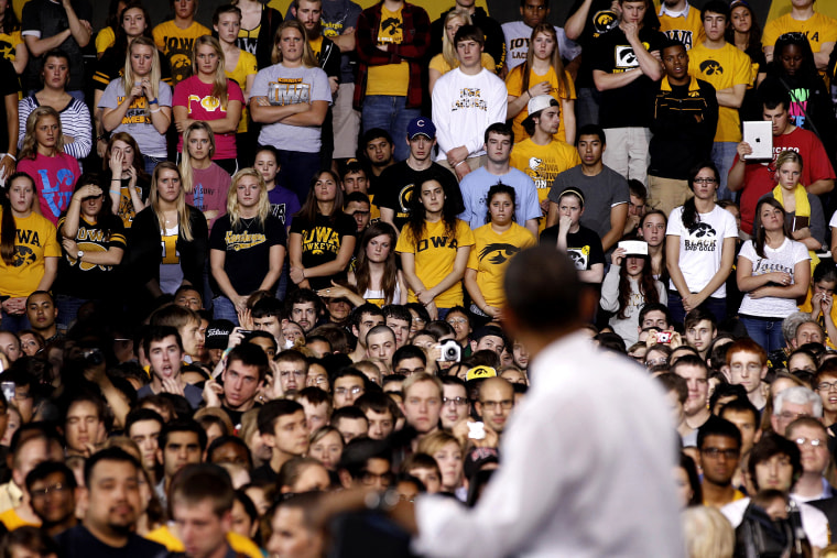 U.S. President Obama talks to students at the University of Iowa about the rising costs of education