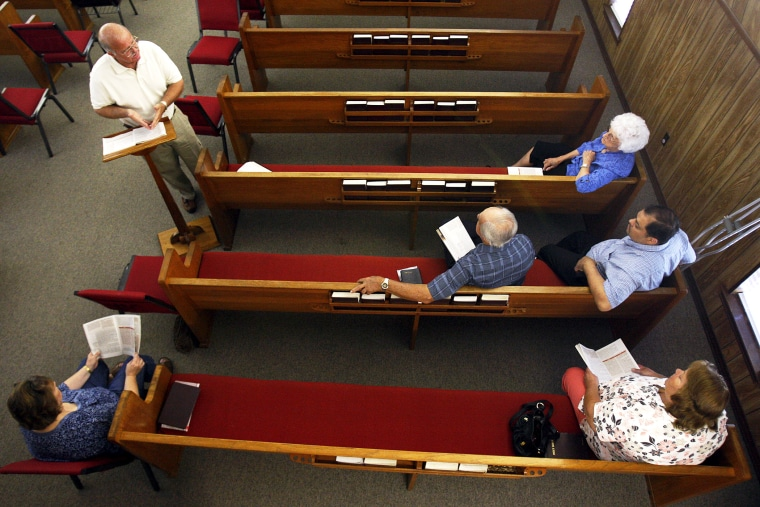 A Bible study at Barataria Baptist Church in Lafitte, La.