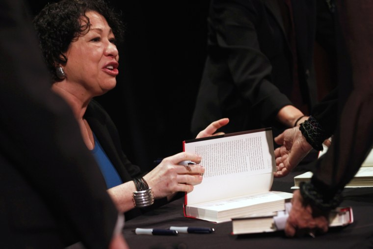 U.S. Supreme Court Justice Sonia Sotomayor signs copies of her book, January 28, 2013.