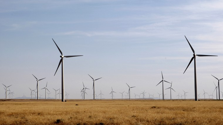 Wind turbines operate at a wind farm near Milford, Utah