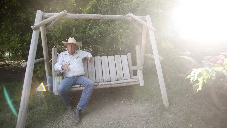 Rancher Cliven Bundy sits on a swing at his home in Bunkerville, Nevada April 12, 2014.