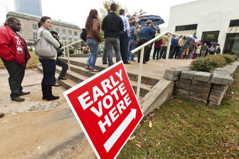 Arkansas voters line up in the rain at an early voting poling place in Little Rock, Ark., Nov. 5, 2012.