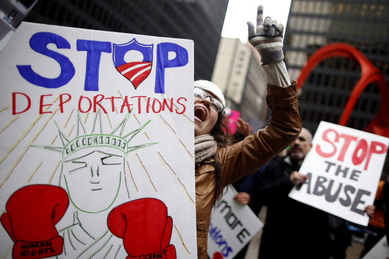 A protester takes part in a demonstration calling for immigration reform at a rally in Chicago, Illinois, March 27, 2014.
