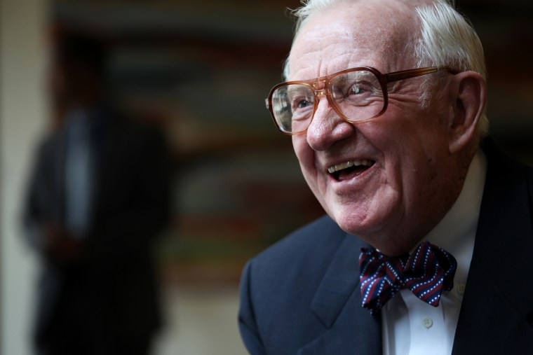 Justice John Paul Stevens, formerly of the U.S. Supreme Court, during an interview at the Benjamin N. Cardozo School of Law at Yeshiva University, in New York.