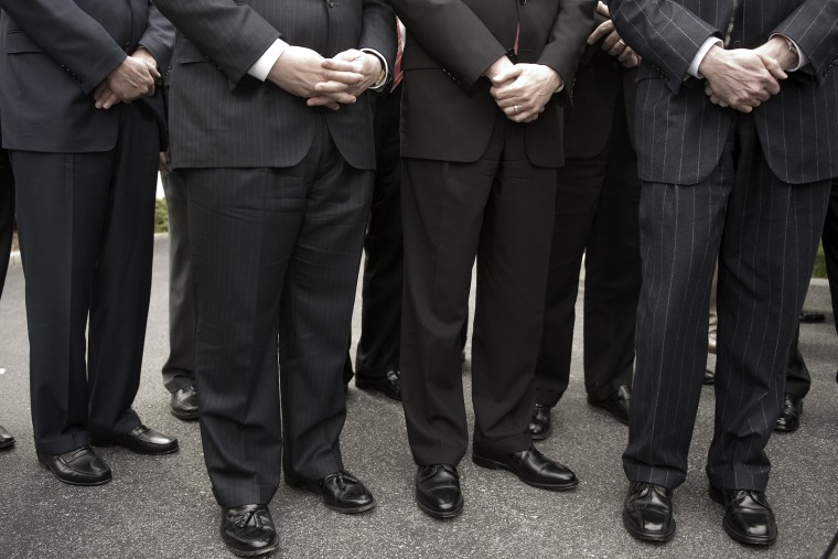Financial Chief Executives wait to speak to the media at the White House in 2009.