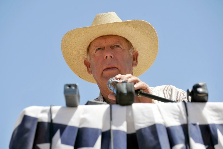 Rancher Cliven Bundy speaks during a news conference near his ranch on April 24, 2014 in Bunkerville, Nev.