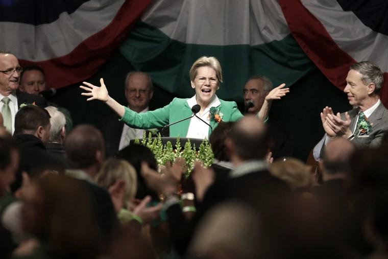 Senator Elizabeth Warren, (D-MA) speaks the annual St. Patrick's Day breakfast in Boston's South Boston neighborhood, on March 17, 2013.