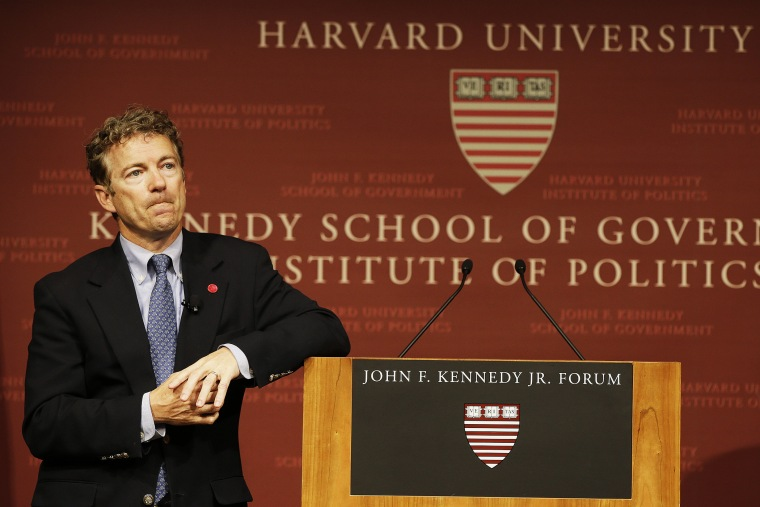 Rand Paul pauses during his public address at the John F. Kennedy Jr. Forum Institute of Politics in Cambridge, Mass, Apr. 25, 2014.