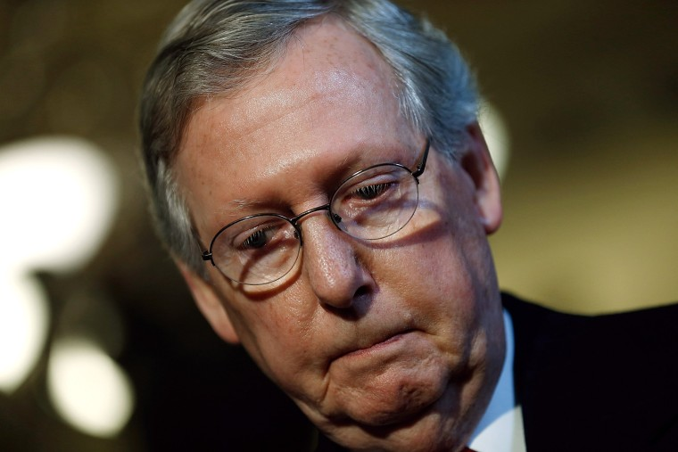 Senate Minority Leader Mitch McConnell (R-KY) speaks with reporters, April 8, 2014 in Washington, D.C.