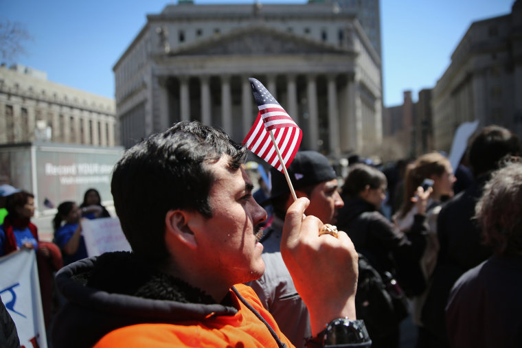 Immigrant rights activists demonstrate during a 'National Day of Action' on April 10, 2014 in New York City.
