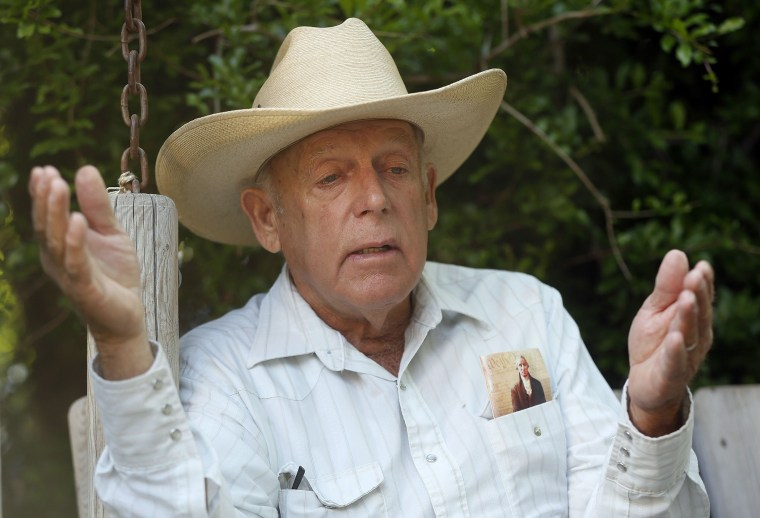 Rancher Cliven Bundy at his home in Bunkerville, Nevada in this file photo taken April 12, 2014.