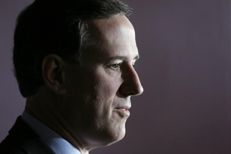 Former Penn. Senator Rick Santorum speaks during a news conference, March 26, 2014, in Johnson, Iowa.