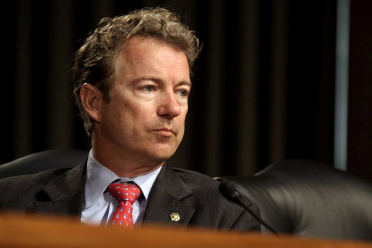 Sen. Rand Paul, R-Ky. listens during a hearing on Capitol Hill in Washington, April 1, 2014.