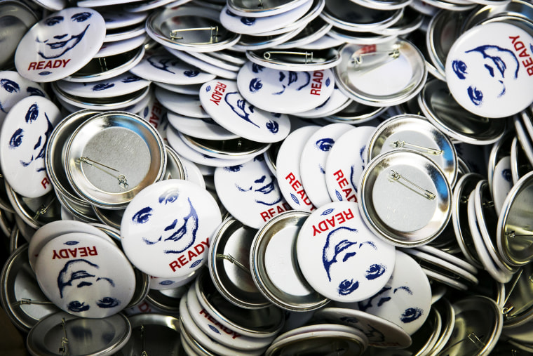 Buttons at the Ready for Hillary office in Alexandria, Va., July 26, 2013.