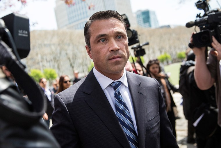 U.S. Representative Michael Grimm (R-NY, 11th District) leaves a press conference he spoke at after leaving Brooklyn Federal Court where he was indicted on 20 counts on April 28, 2014 in the Brooklyn borough of New York City.