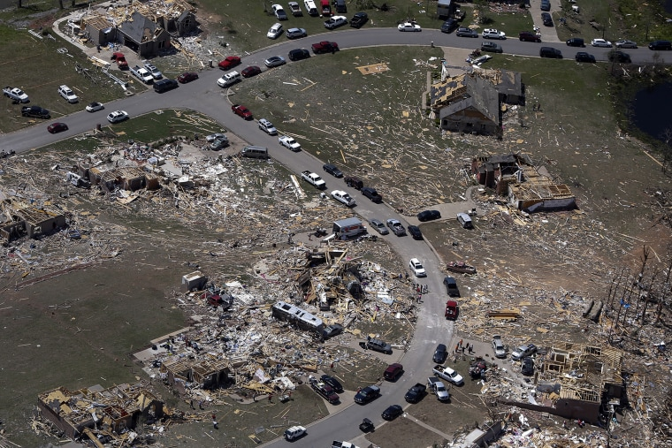 A residential neighborhood is seen destroyed by tornado in aerial photograph taken near Vilonia, Arkansas