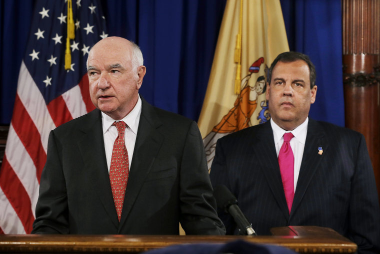 John Degnan makes a statement after New Jersey Gov. Chris Christie introduced him to be the next chairman of the Port Authority of New York and New Jersey, in Trenton,  April 29, 2014.