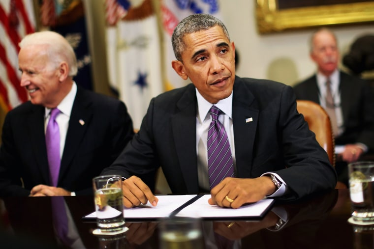 President Barack Obama meets with health insurance executives in the Roosevelt Room at the White House, April 17, 2014.