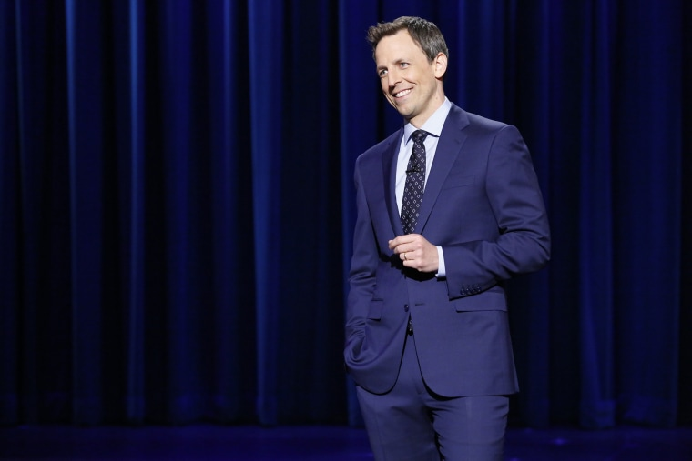 Host Seth Meyers during his Late Night monologue, April 24, 2014.