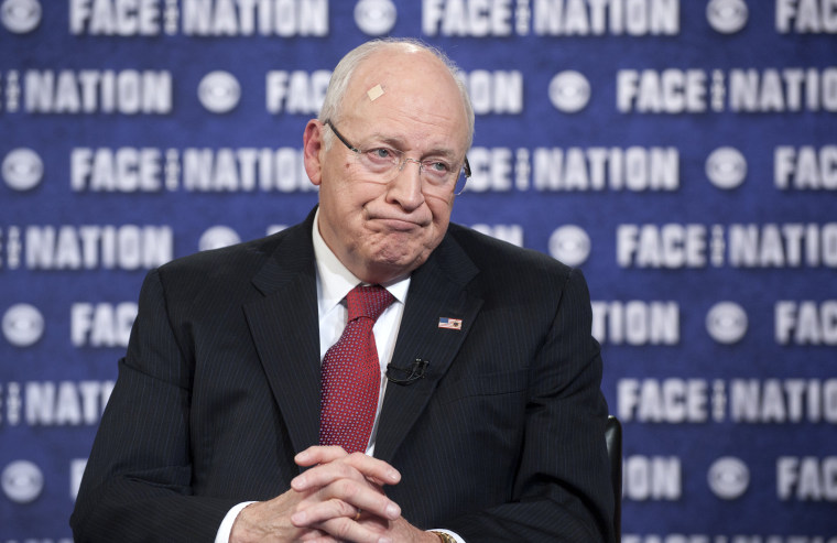"""In this handout from CBS News, former U.S. Vice President Dick Cheney talks during \""""Face the Nation\"""" March 9, 2014 in Washington, D.C."""