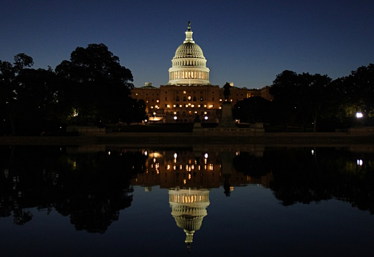 The dome of the US Capitol is seen in Washington, D.C., September 20, 2008.