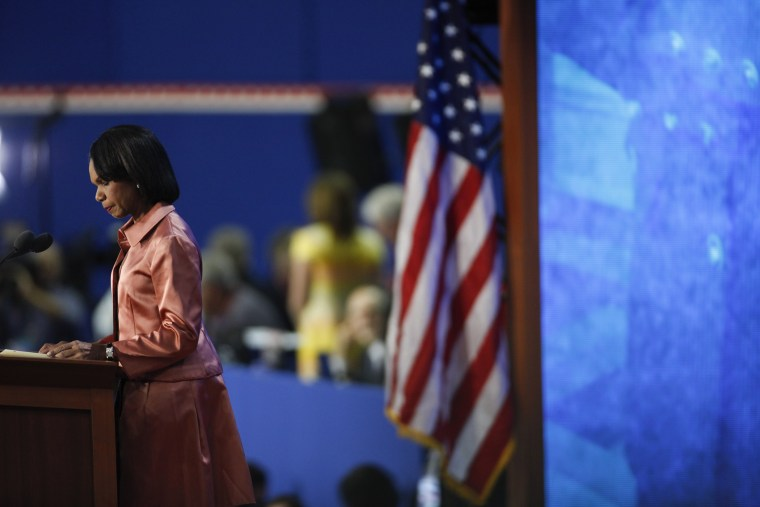 Former Secretary of State Condoleezza Rice speaks during the Republican National Convention at the Tampa Bay Times Forum in Tampa, Fla., Aug. 29, 2012.