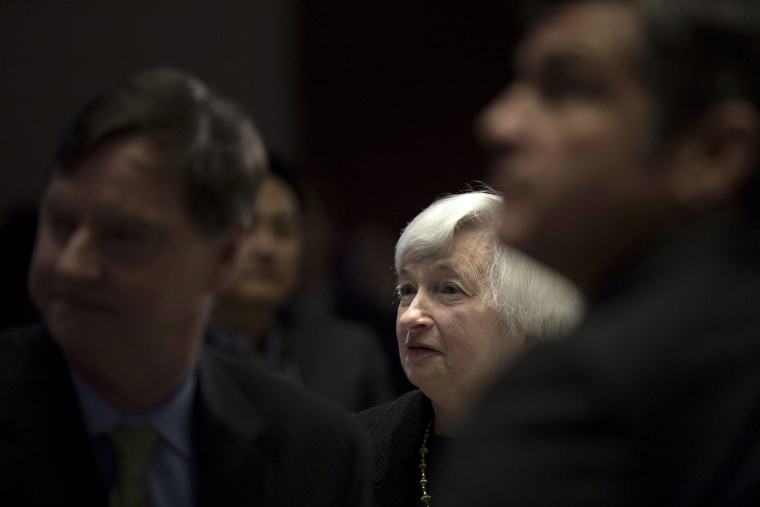 United States Federal Reserve Chair Janet Yellen waits to speak in Chicago on March 31, 2014.
