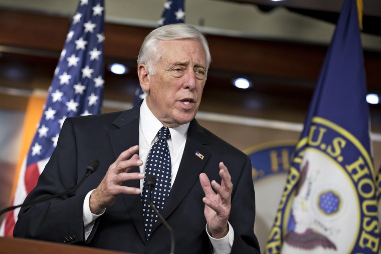 In this Dec. 5, 2013 file photo House Minority Whip Steny Hoyer of Md. speaks during a news conference on Capitol Hill in Washington.