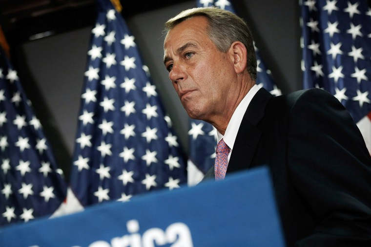 Speaker of the House John Boehner (R-OH) answers questions during a press conference April 28, 2014 in Washington, DC.