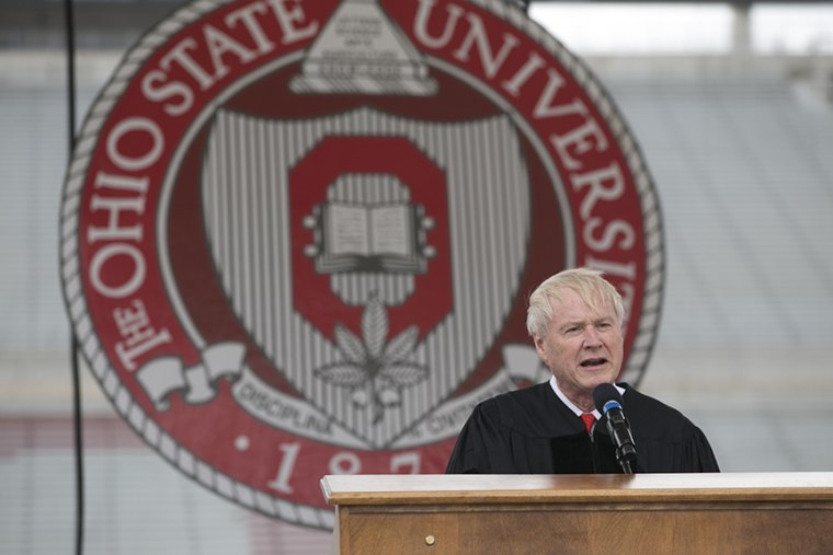 Chris Mathews speaks at Ohio Stadium for the 2014 Spring OSU Commencement, May 4, 2014