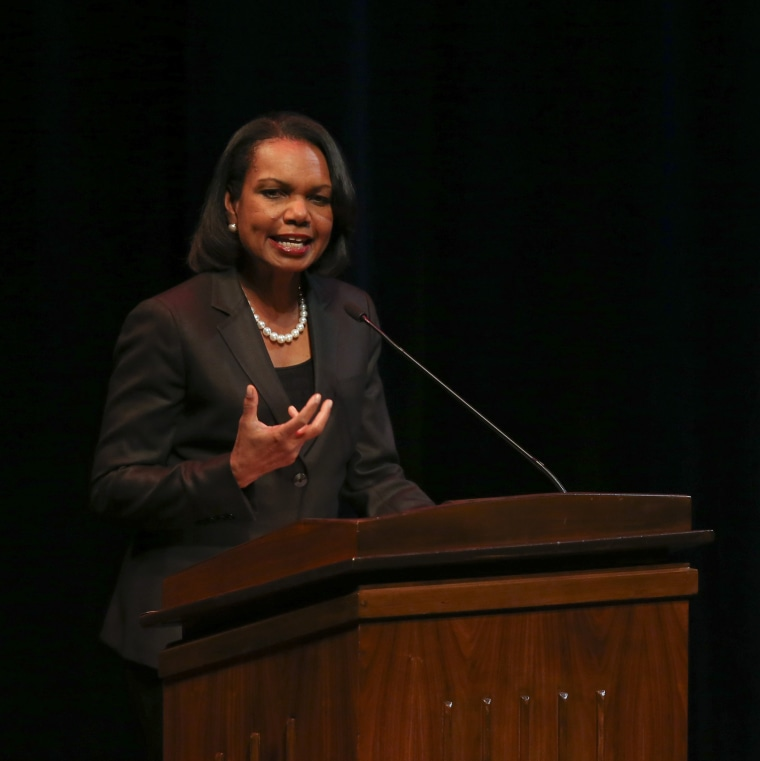 Former Secretary of State Condoleezza Rice delivers a speech at Northrop Auditorium Thursday, April 17, 2014 on the University of Minnesota campus in Minneapolis.