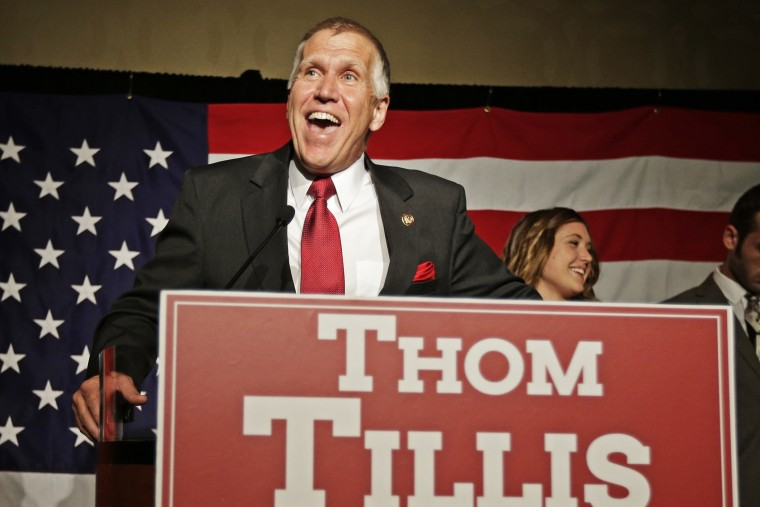 Thom Tillis speaks to supporters at a election night rally in Charlotte, N.C., after winning the Republican nomination for the U.S. Senate Tuesday, May 6, 2014.