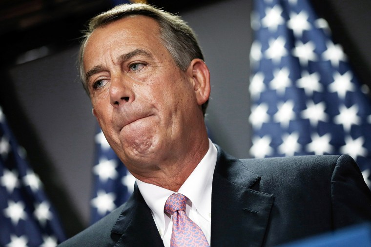 John Boehner answers questions during a press conference April 28, 2014 in Washington, DC.
